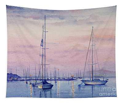 Vineyard Twilight Watercolor Tapestry