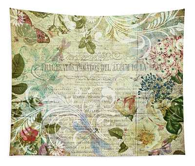 Vintage Botanical Illustration Collage Tapestry