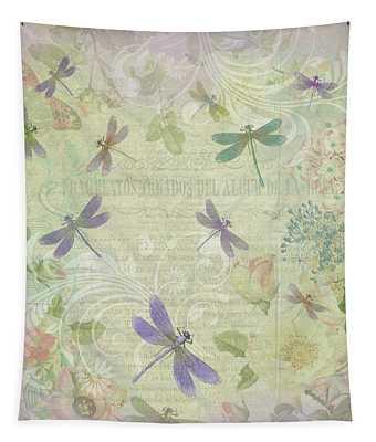 Vintage Botanical Illustrations And Dragonflies Tapestry