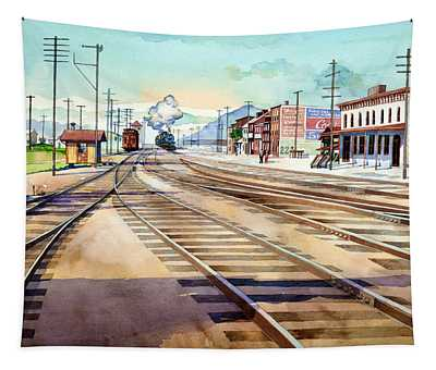 Vintage Color Columbia Rail Yards Tapestry