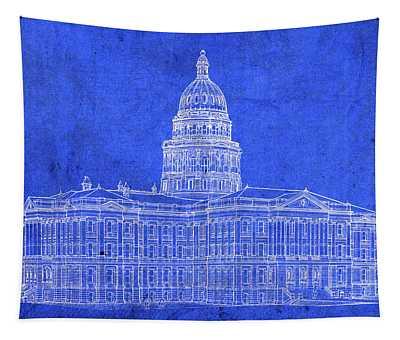 Vintage Colorado State Capitol Building Exterior Architecture Blueprints Tapestry