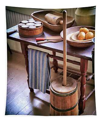 Vintage Farmhouse Butter Churn Tapestry