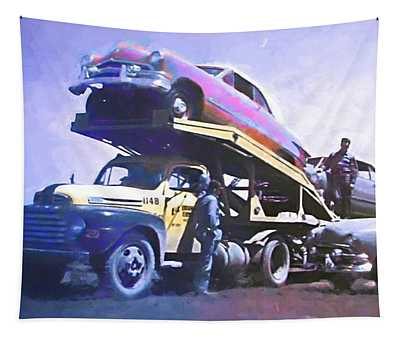 Vintage Ford Car Carrier Tapestry
