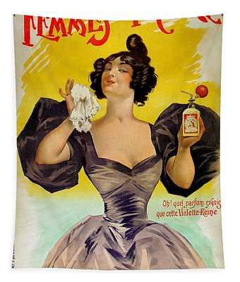Vintage French Advertising Parfums Des Femmes De France Tapestry