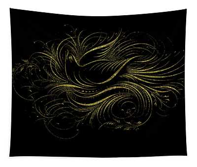 Vintage Gold Calligraphy Bird On Black Tapestry