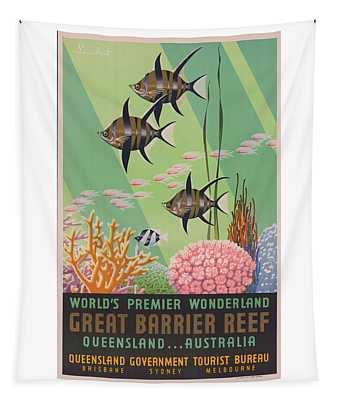 Vintage Great Barrier Reef Travel Poster 2 Tapestry