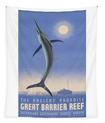 Vintage Great Barrier Reef Travel Poster Tapestry