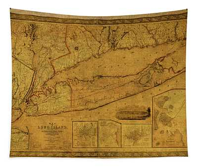 Vintage Map Of Long Island New York Tapestry