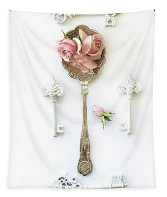 Vintage Spoon Floral Wall Art - Antique Spoon White Shabby Chic Cottage Kitchen Wall Art Home Decor Tapestry