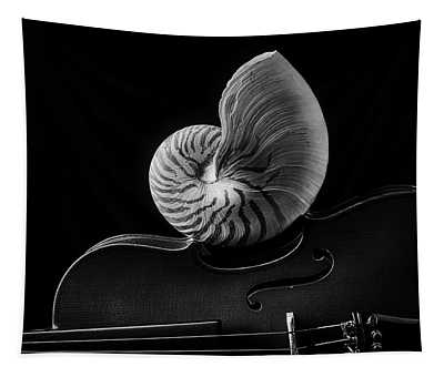 Violin And Nautilus Shell In Black And White Tapestry