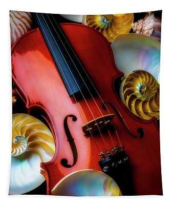 Violin And Seashells Tapestry