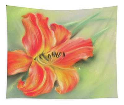 Vivid Orange Daylily Tapestry