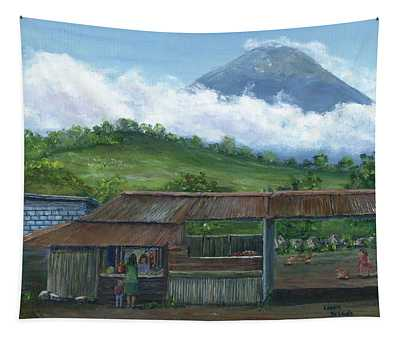 Volcano Agua, Guatemala, With Fruit Stand Tapestry