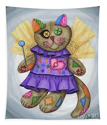 Voodoo Empress Fairy Cat Doll - Patchwork Cat Tapestry