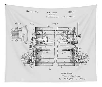 W F Ludwig Snare Drum Patent Tapestry