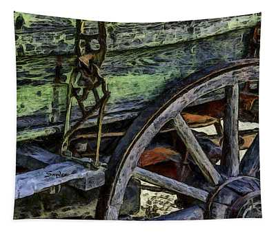 Wagon Wheel On A Green Wagon Tapestry