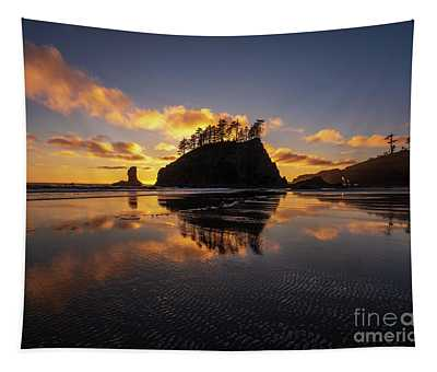 Washington Coast Weeping Lady Sunset Cloudscape Tapestry