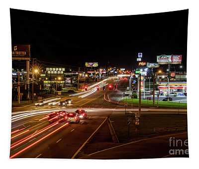 Washington Road At Night - Augusta Ga Tapestry