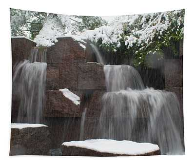 Water Falling And Snow Tapestry
