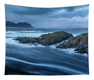 Water Flow At Stormy Sea Tapestry