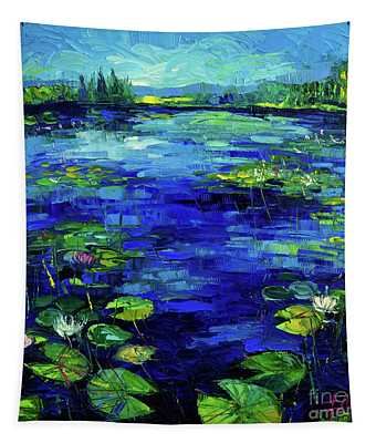 Water Lilies Story Impressionistic Impasto Palette Knife Oil Painting Mona Edulesco Tapestry