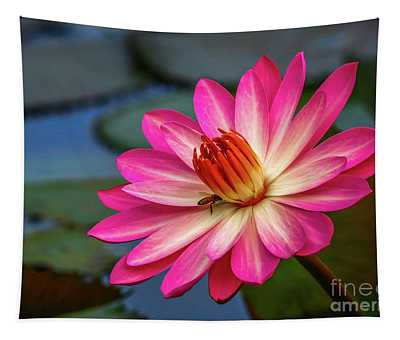 Water Lily With Bee Tapestry