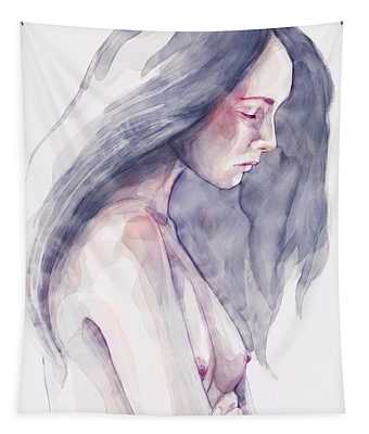 Watercolor Abstract Portrait Of A Girl Tapestry