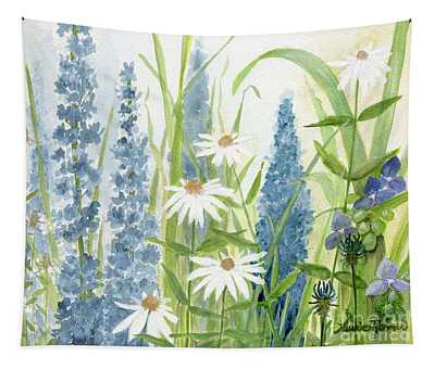 Watercolor Blue Flowers Tapestry