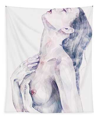 Watercolor Fashion Woman With Long Hair Portrait Tapestry