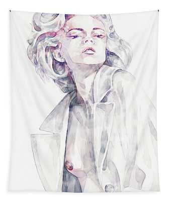 Watercolor Girl Portrait Drawing Tapestry