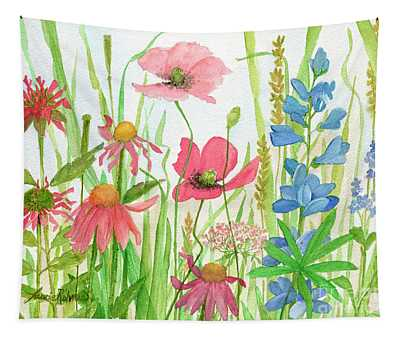 Watercolor Touch Of Blue Flowers Tapestry
