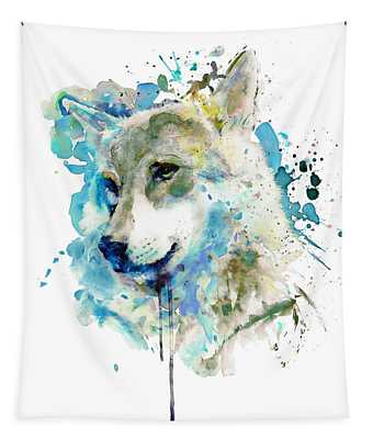 Watercolor Wolf Portrait Tapestry