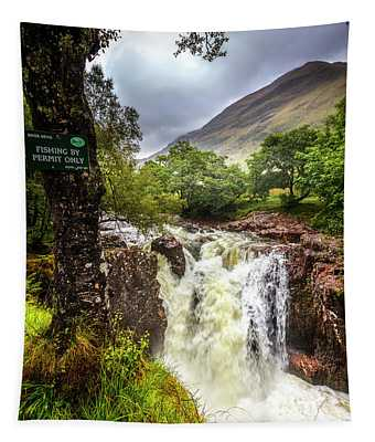 Waterfall At The Ben Nevis Mountain Tapestry