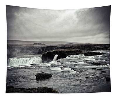 Waterfall Of The Gods Black And White Tapestry