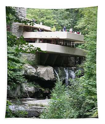 Waterfall Under Iconic Home Mill Run Frank Lloyd Wright Tapestry