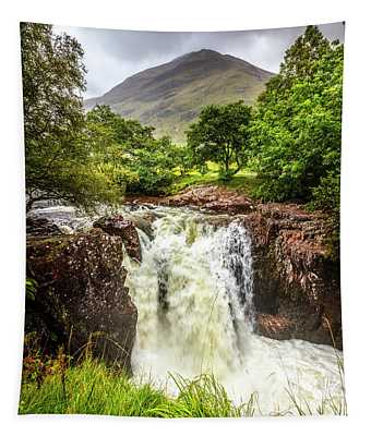 Waterfall Under The Mountain Tapestry