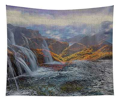 Waterfalls In The Mountains Tapestry