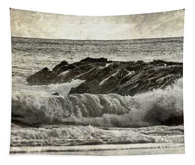 Waves At The Jetty Tapestry