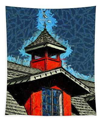 Weather Vane Red Window Gable Abstract Tapestry