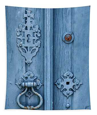 Weathered Blue Door Lock Tapestry