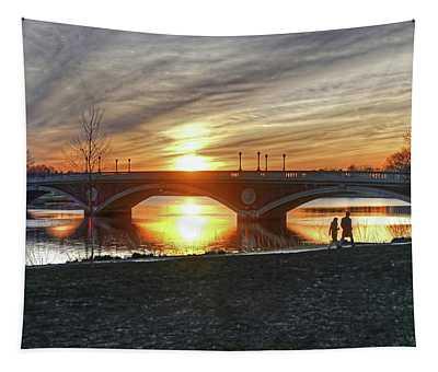 Weeks Bridge At Sunset Tapestry