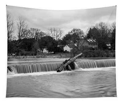 Wehr's Dam - Black And White Tapestry