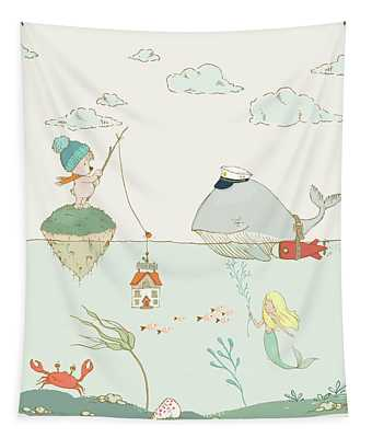 Tapestry featuring the painting Whale And Bear In The Ocean Whimsical Art For Kids by Matthias Hauser