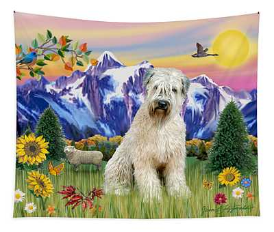 Wheaten Terrier In The Country Tapestry