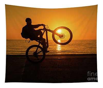 Wheelies At Sunset Tapestry