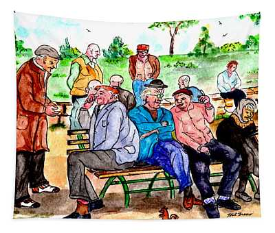 When Park Benches Were Filled With People Tapestry