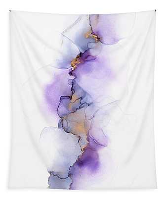Whispy Floral Abstract Painting In Purple Tapestry