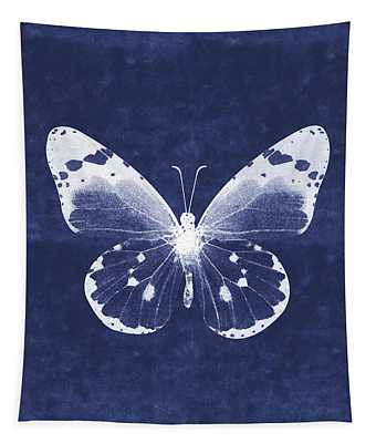 White And Indigo Butterfly 1- Art By Linda Woods Tapestry