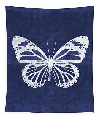 White And Indigo Butterfly 3- Art By Linda Woods Tapestry