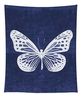 White And Indigo Butterfly- Art By Linda Woods Tapestry